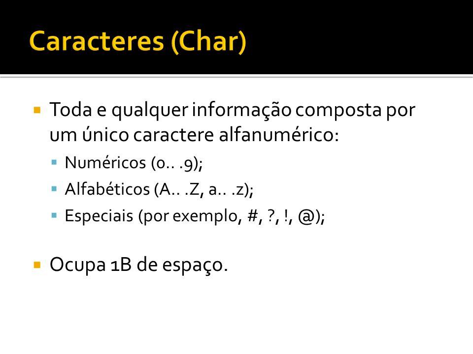 Toda e qualquer informação composta por um conjunto de caracteres alfanuméricos concatenados: Exemplos: Bruno, IFRN, Algoritmo2009 Se declarada corretamente, ocupa 1B de espaço para cada caractere da cadeia.