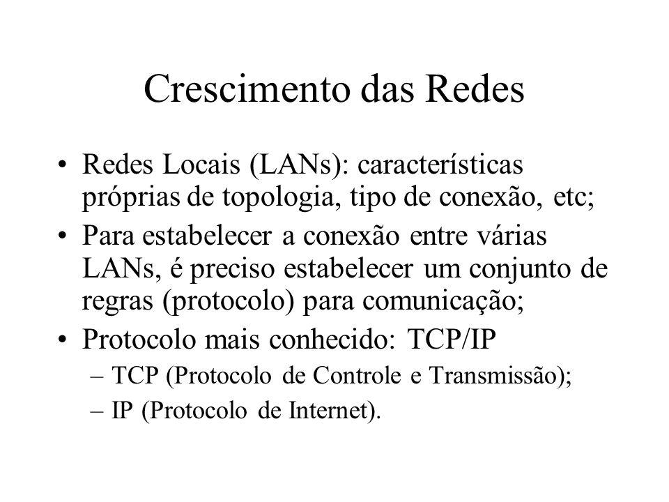 Crescimento das Redes Redes Locais (LANs): características próprias de topologia, tipo de conexão, etc; Para estabelecer a conexão entre várias LANs, é preciso estabelecer um conjunto de regras (protocolo) para comunicação; Protocolo mais conhecido: TCP/IP –TCP (Protocolo de Controle e Transmissão); –IP (Protocolo de Internet).