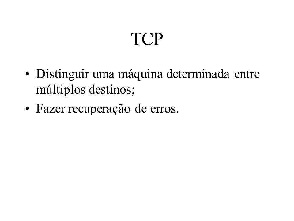 TCP Distinguir uma máquina determinada entre múltiplos destinos; Fazer recuperação de erros.