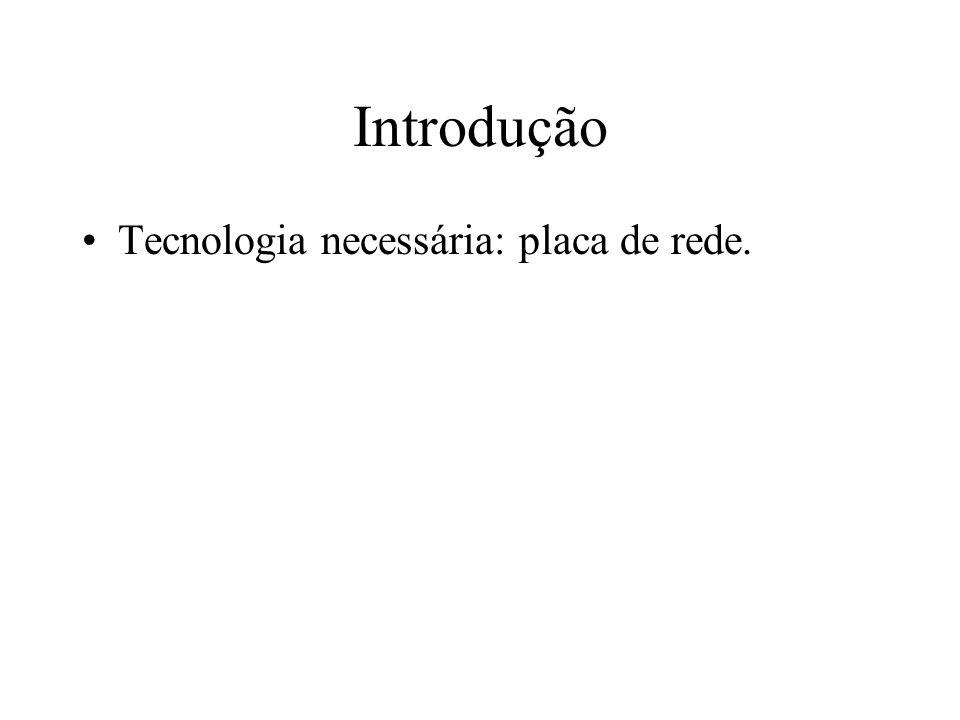Introdução Tecnologia necessária: placa de rede.
