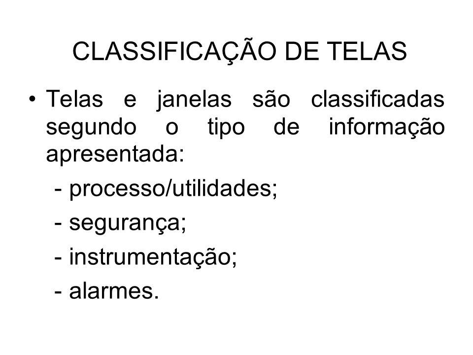 CLASSIFICAÇÃO DE TELAS Telas e janelas são classificadas segundo o tipo de informação apresentada: - processo/utilidades; - segurança; - instrumentaçã