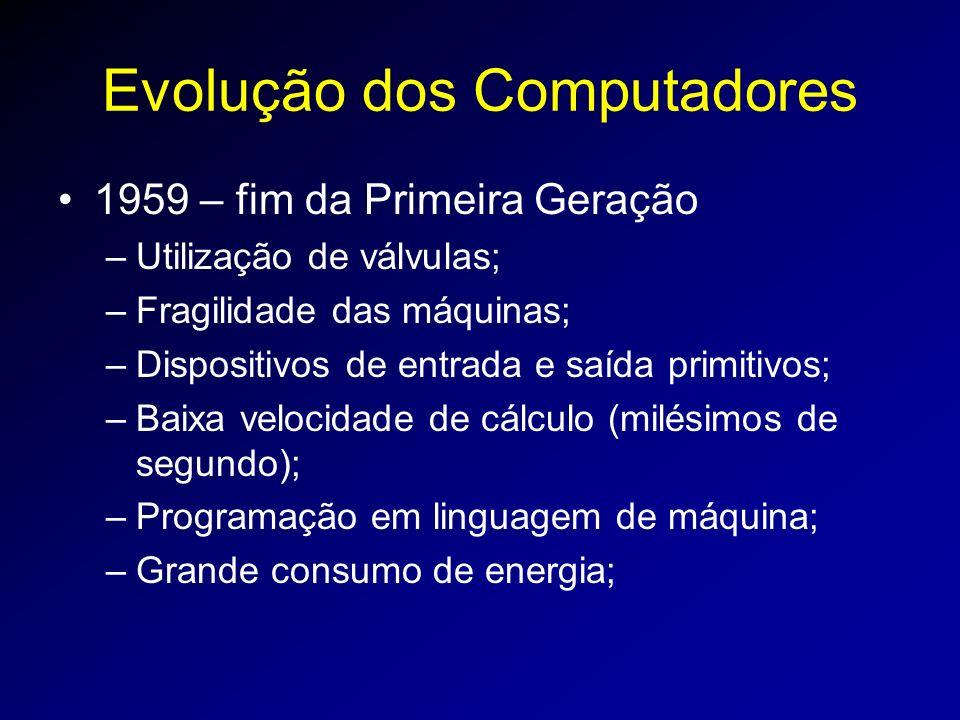 Evolução dos Computadores 1959 – fim da Primeira Geração –Utilização de válvulas; –Fragilidade das máquinas; –Dispositivos de entrada e saída primitivos; –Baixa velocidade de cálculo (milésimos de segundo); –Programação em linguagem de máquina; –Grande consumo de energia;