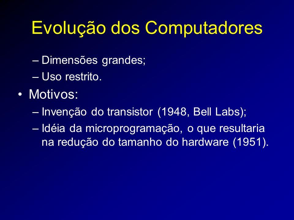 Evolução dos Computadores –Dimensões grandes; –Uso restrito.