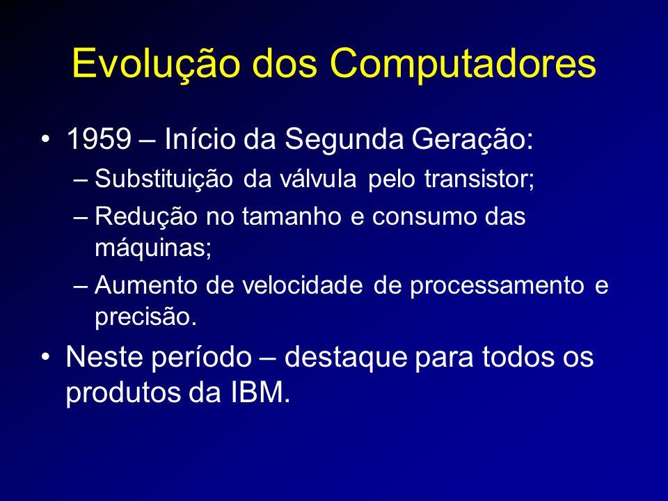Evolução dos Computadores 1959 – Início da Segunda Geração: –Substituição da válvula pelo transistor; –Redução no tamanho e consumo das máquinas; –Aumento de velocidade de processamento e precisão.