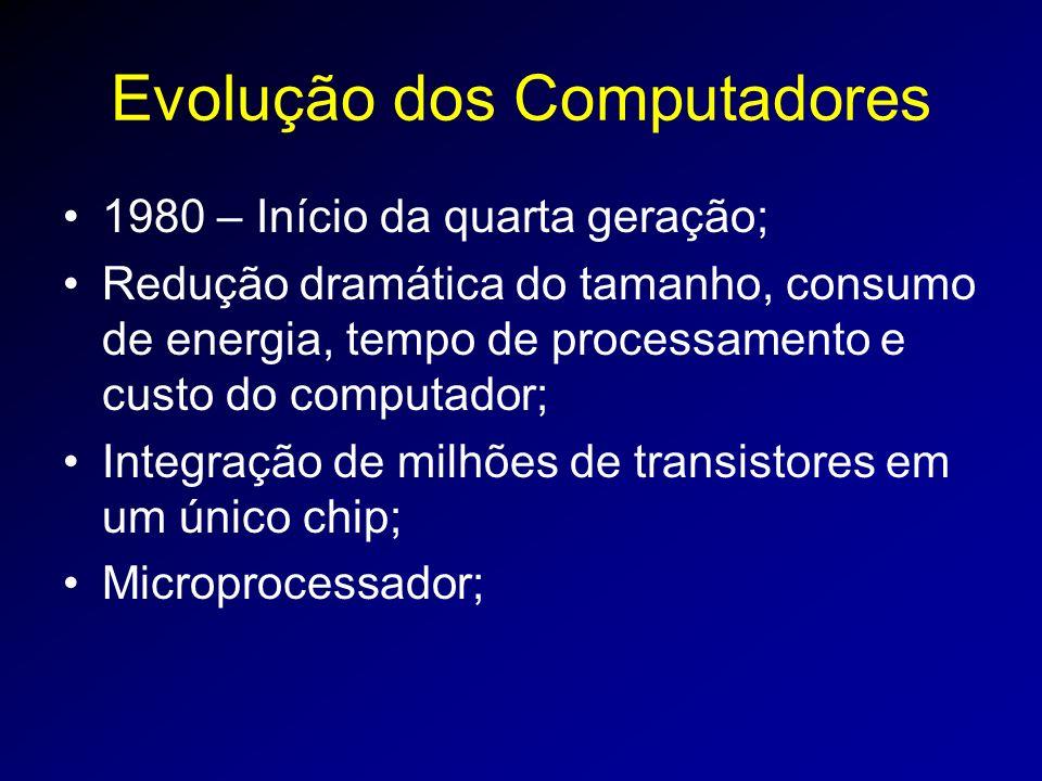 Evolução dos Computadores 1980 – Início da quarta geração; Redução dramática do tamanho, consumo de energia, tempo de processamento e custo do computador; Integração de milhões de transistores em um único chip; Microprocessador;