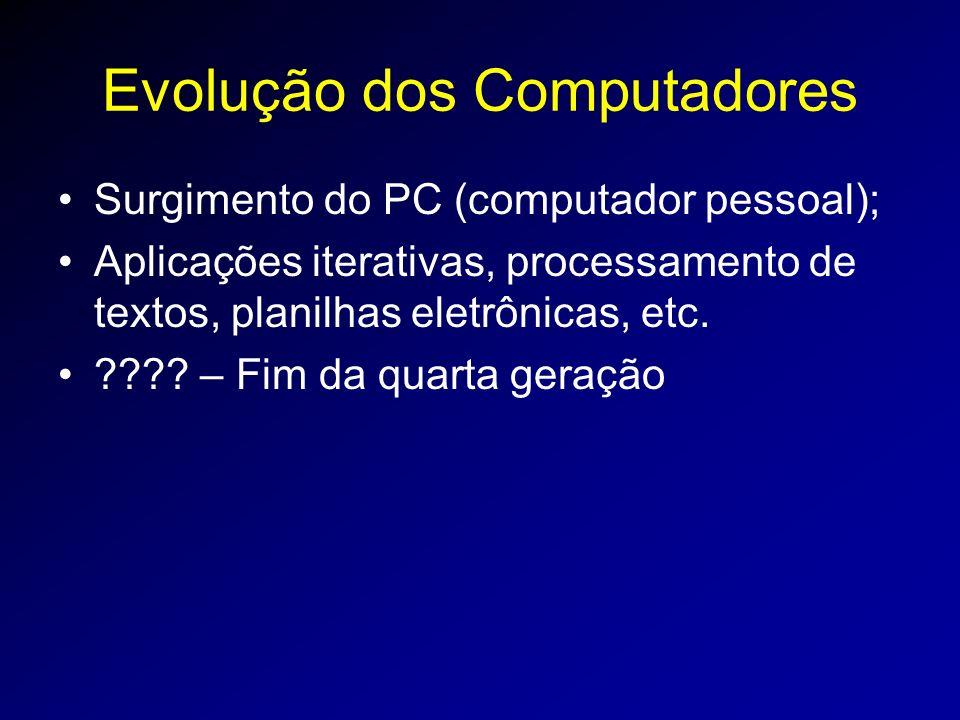 Evolução dos Computadores Surgimento do PC (computador pessoal); Aplicações iterativas, processamento de textos, planilhas eletrônicas, etc.