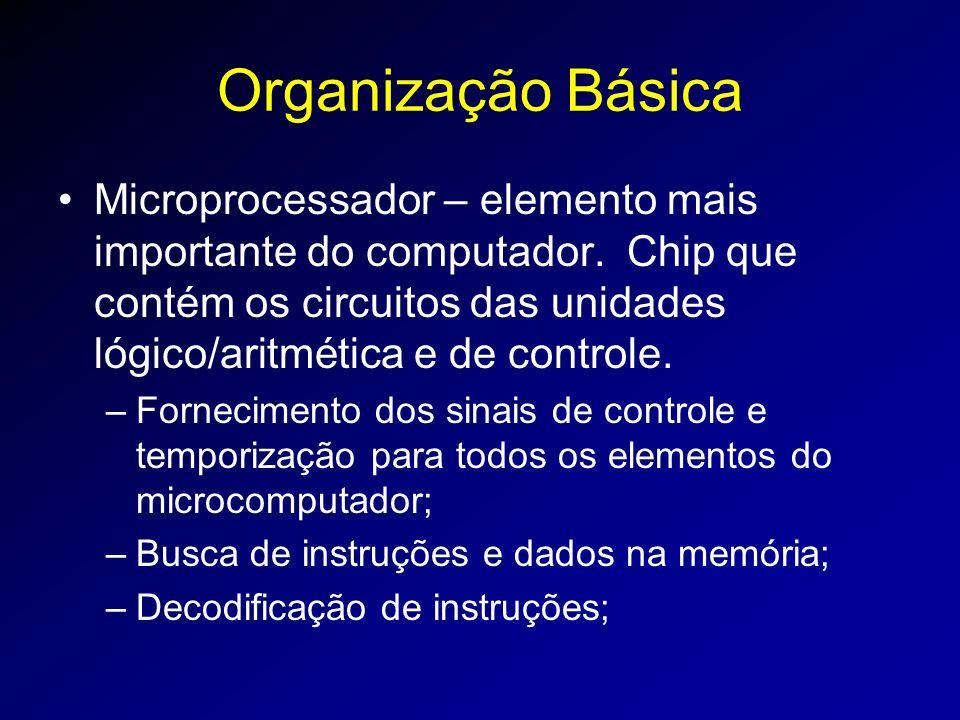 Organização Básica Microprocessador – elemento mais importante do computador.