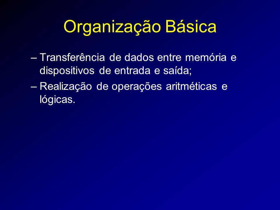 Organização Básica –Transferência de dados entre memória e dispositivos de entrada e saída; –Realização de operações aritméticas e lógicas.