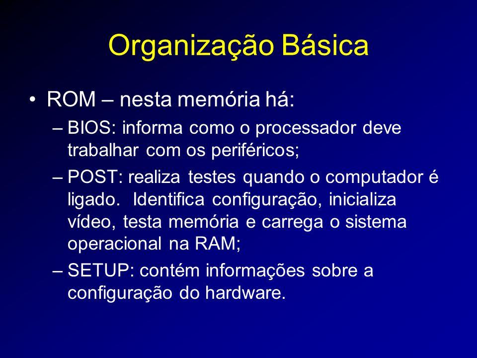 Organização Básica ROM – nesta memória há: –BIOS: informa como o processador deve trabalhar com os periféricos; –POST: realiza testes quando o computador é ligado.