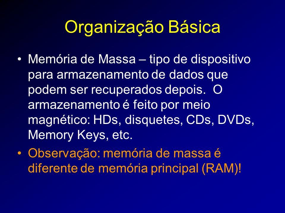 Organização Básica Memória de Massa – tipo de dispositivo para armazenamento de dados que podem ser recuperados depois.