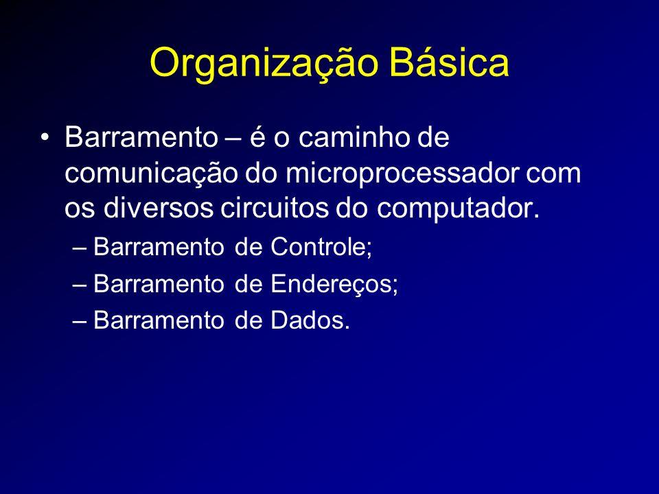 Organização Básica Barramento – é o caminho de comunicação do microprocessador com os diversos circuitos do computador.