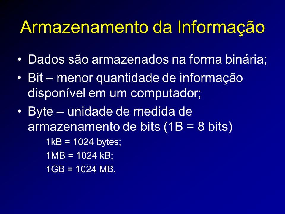 Armazenamento da Informação Dados são armazenados na forma binária; Bit – menor quantidade de informação disponível em um computador; Byte – unidade de medida de armazenamento de bits (1B = 8 bits) 1kB = 1024 bytes; 1MB = 1024 kB; 1GB = 1024 MB.
