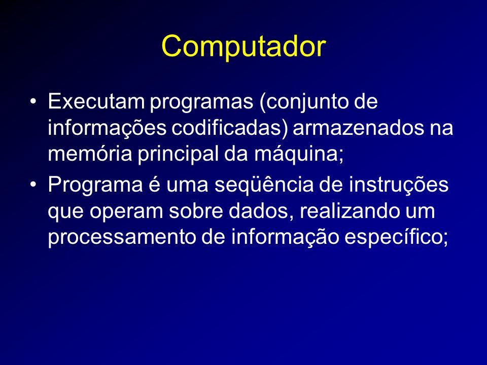 Computador Executam programas (conjunto de informações codificadas) armazenados na memória principal da máquina; Programa é uma seqüência de instruções que operam sobre dados, realizando um processamento de informação específico;