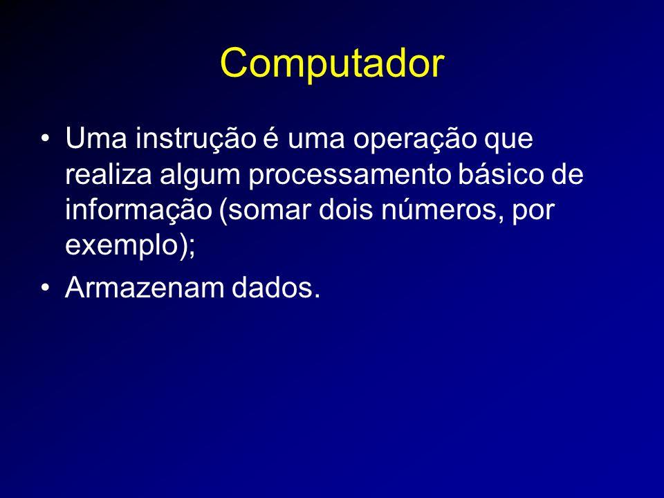 Computador Uma instrução é uma operação que realiza algum processamento básico de informação (somar dois números, por exemplo); Armazenam dados.