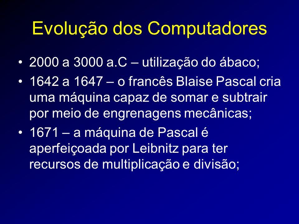 Evolução dos Computadores 2000 a 3000 a.C – utilização do ábaco; 1642 a 1647 – o francês Blaise Pascal cria uma máquina capaz de somar e subtrair por meio de engrenagens mecânicas; 1671 – a máquina de Pascal é aperfeiçoada por Leibnitz para ter recursos de multiplicação e divisão;