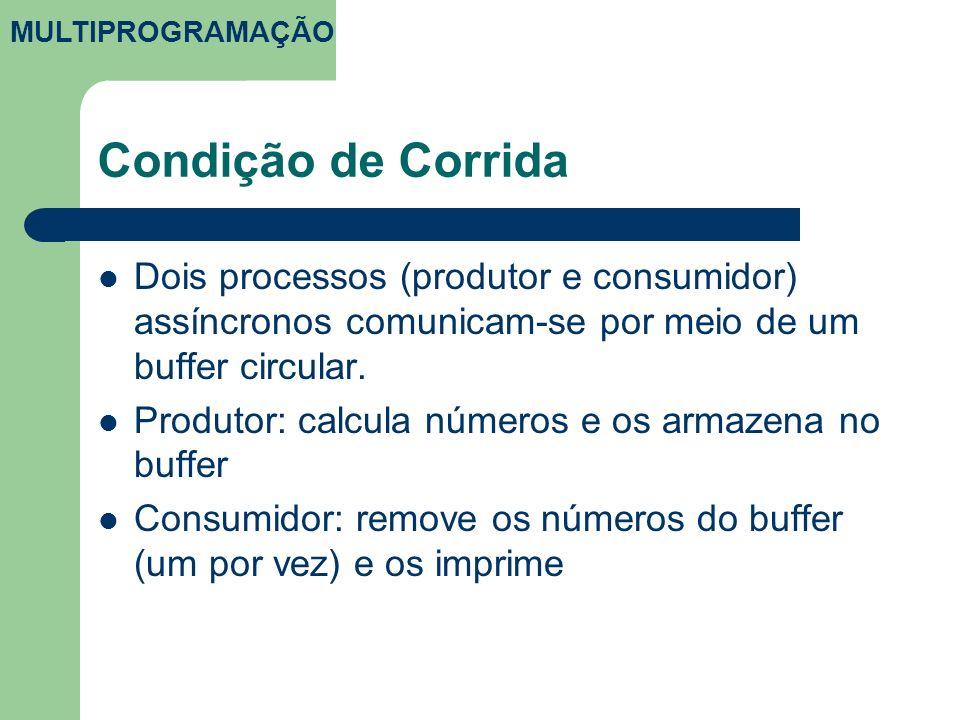 Condição de Corrida Dois processos (produtor e consumidor) assíncronos comunicam-se por meio de um buffer circular. Produtor: calcula números e os arm
