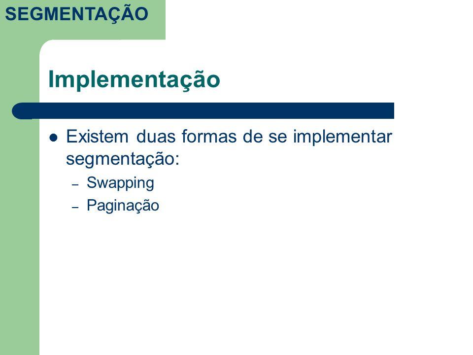 Implementação Existem duas formas de se implementar segmentação: – Swapping – Paginação SEGMENTAÇÃO