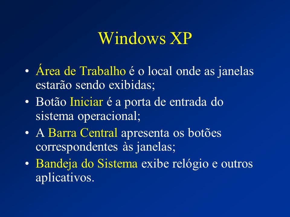 Windows XP Área de Trabalho é o local onde as janelas estarão sendo exibidas; Botão Iniciar é a porta de entrada do sistema operacional; A Barra Centr