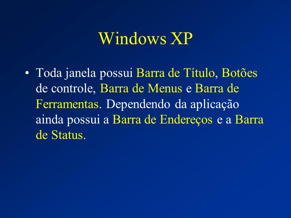 Windows XP Toda janela possui Barra de Título, Botões de controle, Barra de Menus e Barra de Ferramentas. Dependendo da aplicação ainda possui a Barra