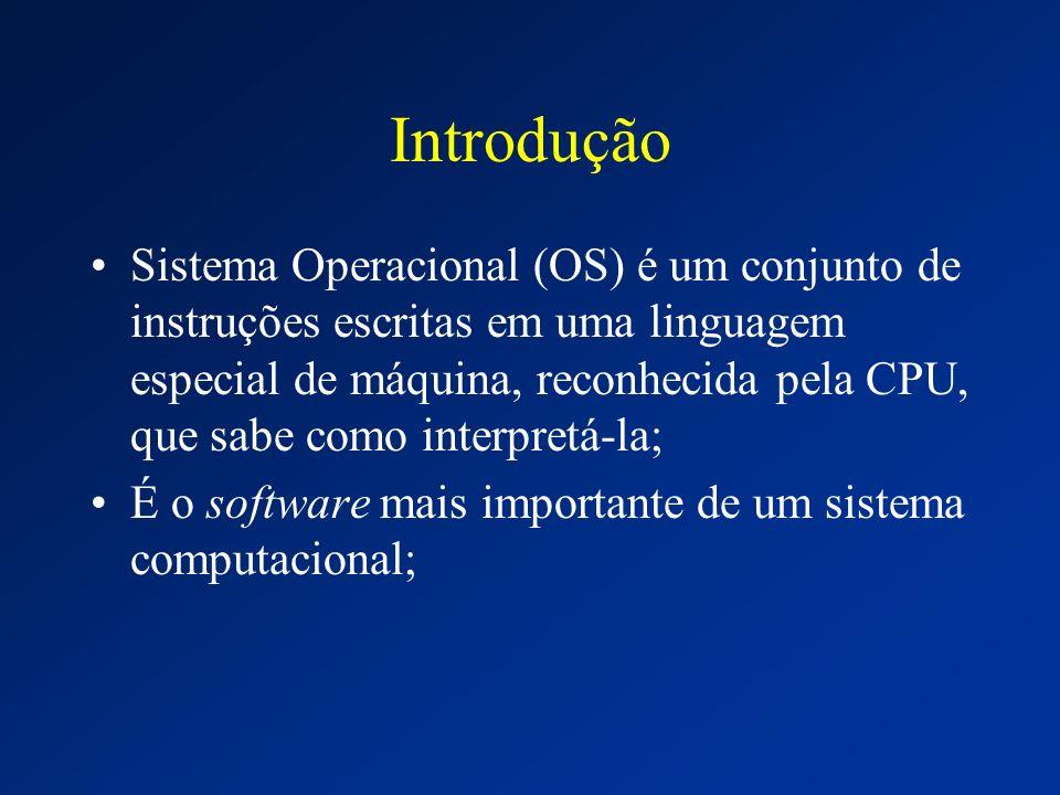 Introdução Sistema Operacional (OS) é um conjunto de instruções escritas em uma linguagem especial de máquina, reconhecida pela CPU, que sabe como int