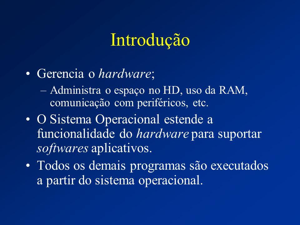 Introdução Gerencia o hardware; –Administra o espaço no HD, uso da RAM, comunicação com periféricos, etc. O Sistema Operacional estende a funcionalida
