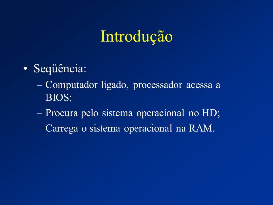 Introdução Seqüência: –Computador ligado, processador acessa a BIOS; –Procura pelo sistema operacional no HD; –Carrega o sistema operacional na RAM.