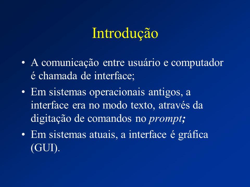 Introdução A comunicação entre usuário e computador é chamada de interface; Em sistemas operacionais antigos, a interface era no modo texto, através d