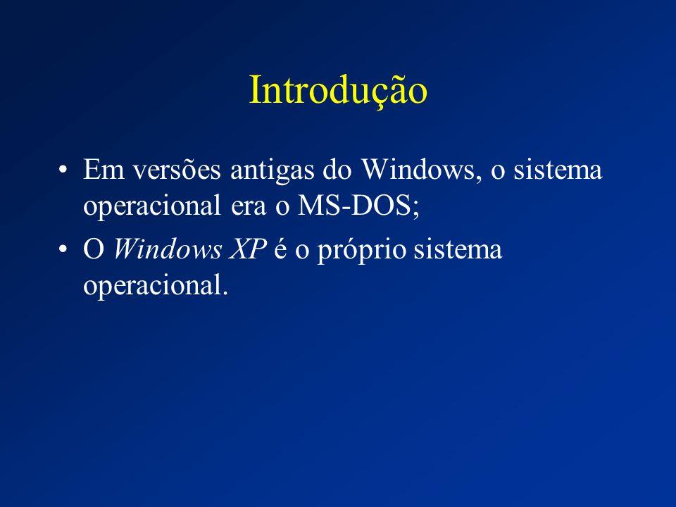 Introdução Em versões antigas do Windows, o sistema operacional era o MS-DOS; O Windows XP é o próprio sistema operacional.
