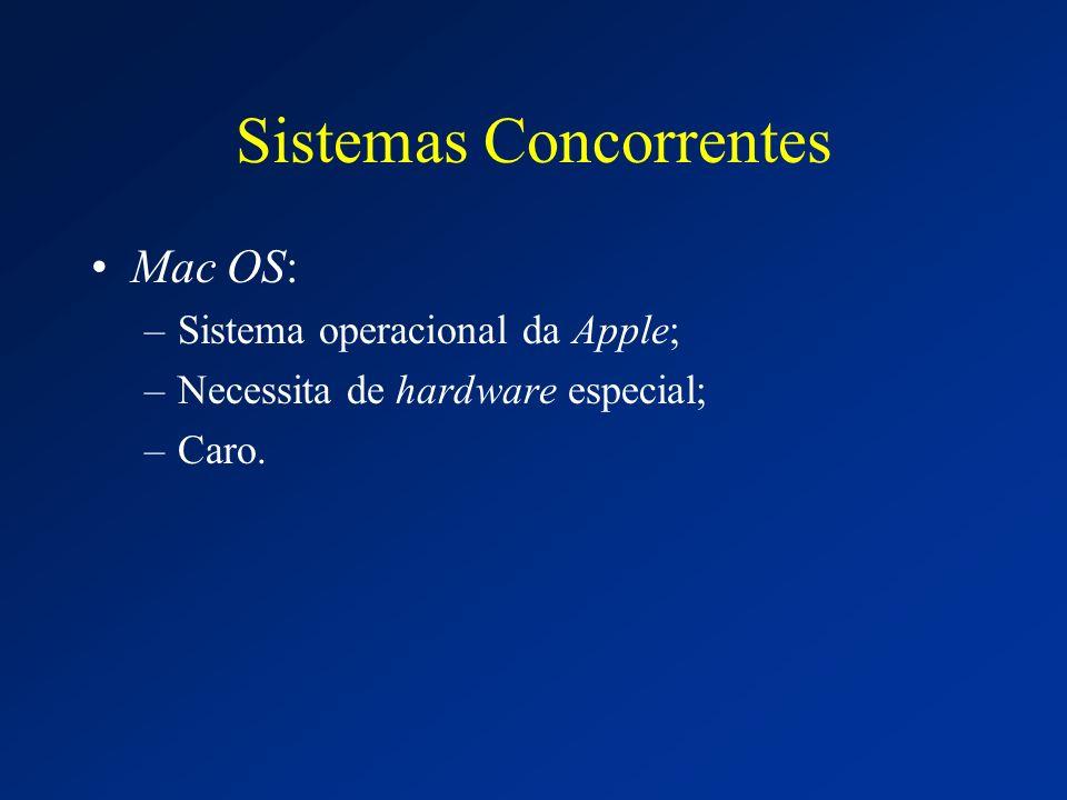 Sistemas Concorrentes Mac OS: –Sistema operacional da Apple; –Necessita de hardware especial; –Caro.