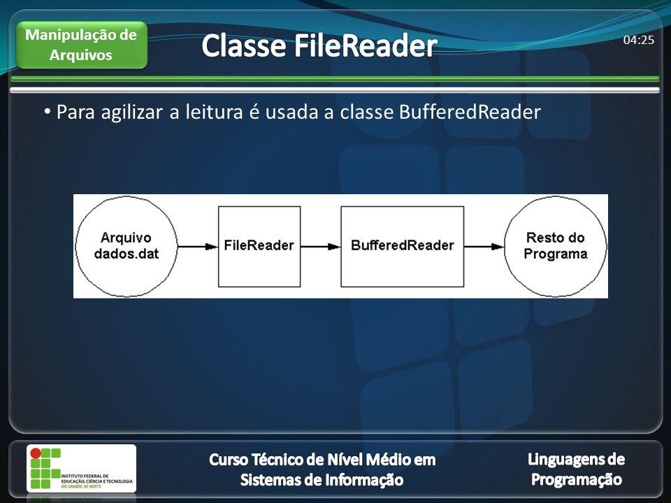 04:27 Para agilizar a leitura é usada a classe BufferedReader Manipulação de Arquivos