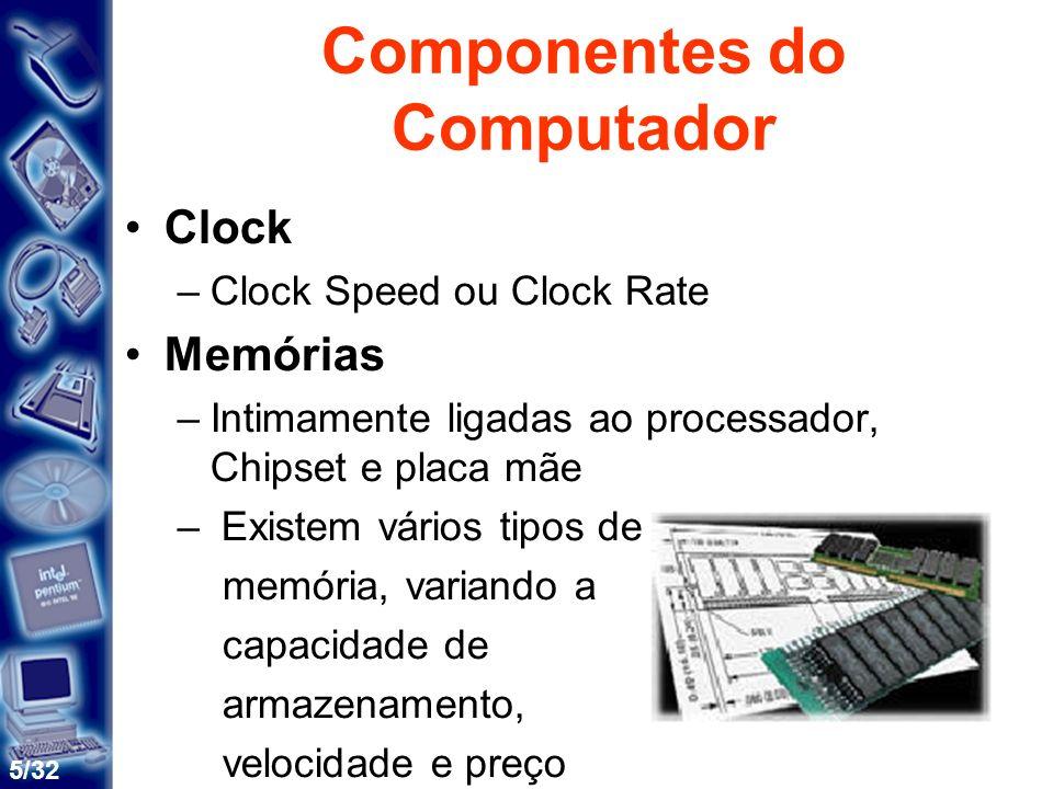 6/32 Componentes do Computador Placas de expansão –Placa de som, de video Periféricos –Teclados, mouses, monitores, joysticks