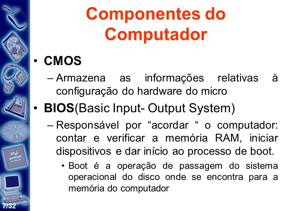8/32 Componentes do Computador CHIPSET –Circuitos de apoio ao computador que gerenciam praticamente todo o funcionamento da placa-mãe