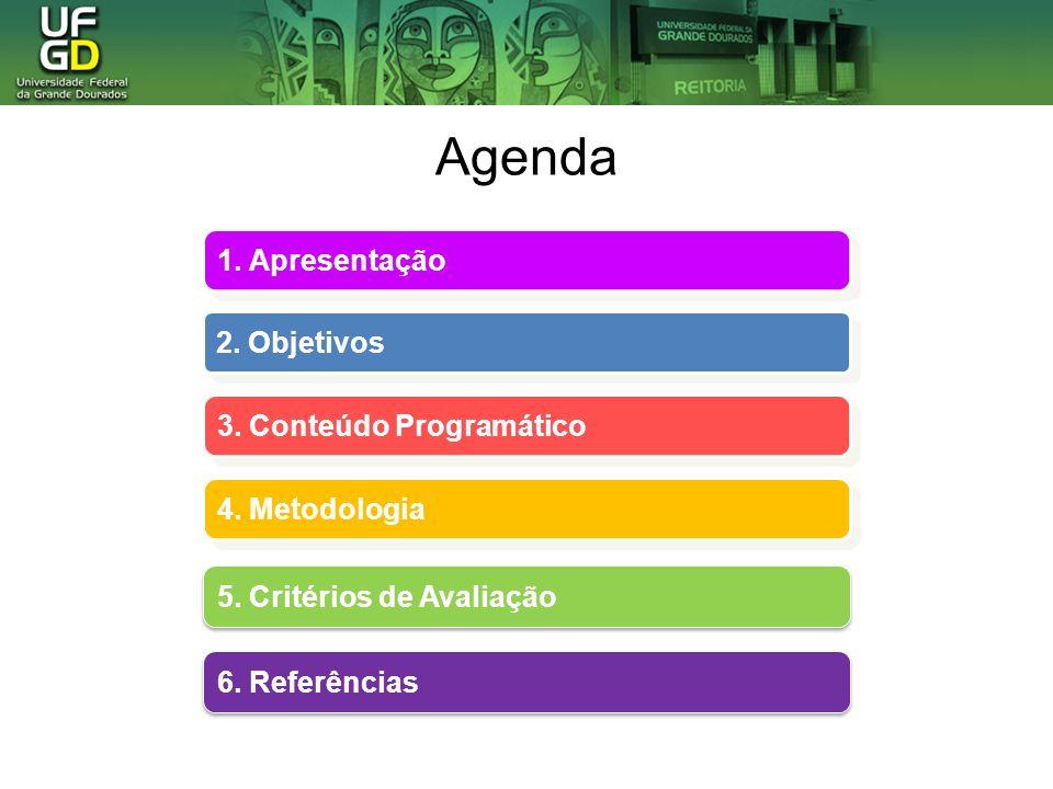 Agenda 1. Apresentação 2. Objetivos 3. Conteúdo Programático 4. Metodologia 4. Metodologia 5. Critérios de Avaliação 5. Critérios de Avaliação 6. Refe