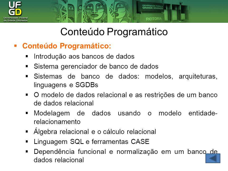 Conteúdo Programático Conteúdo Programático: Introdução aos bancos de dados Sistema gerenciador de banco de dados Sistemas de banco de dados: modelos,