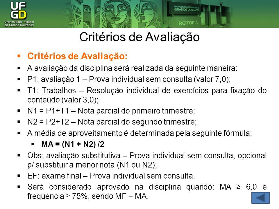 Critérios de Avaliação: A avaliação da disciplina será realizada da seguinte maneira: P1: avaliação 1 – Prova individual sem consulta (valor 7,0); T1: