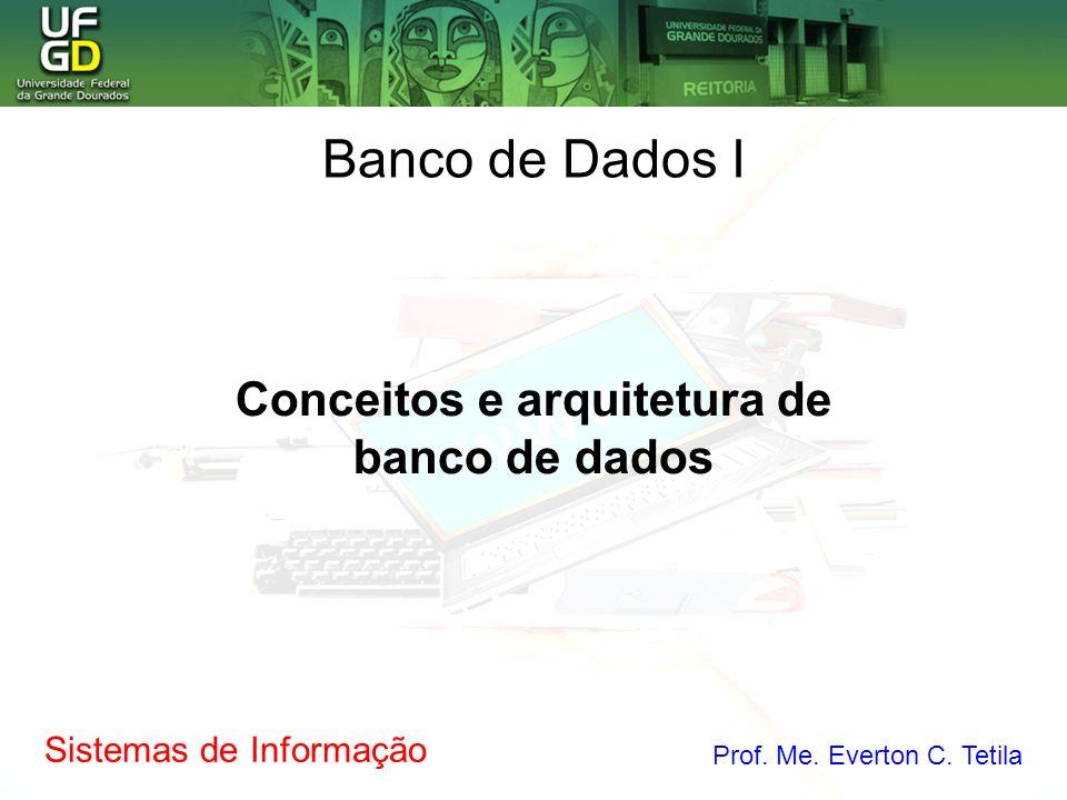 Sistemas de Informação Prof. Me. Everton C. Tetila Conceitos e arquitetura de banco de dados Banco de Dados I