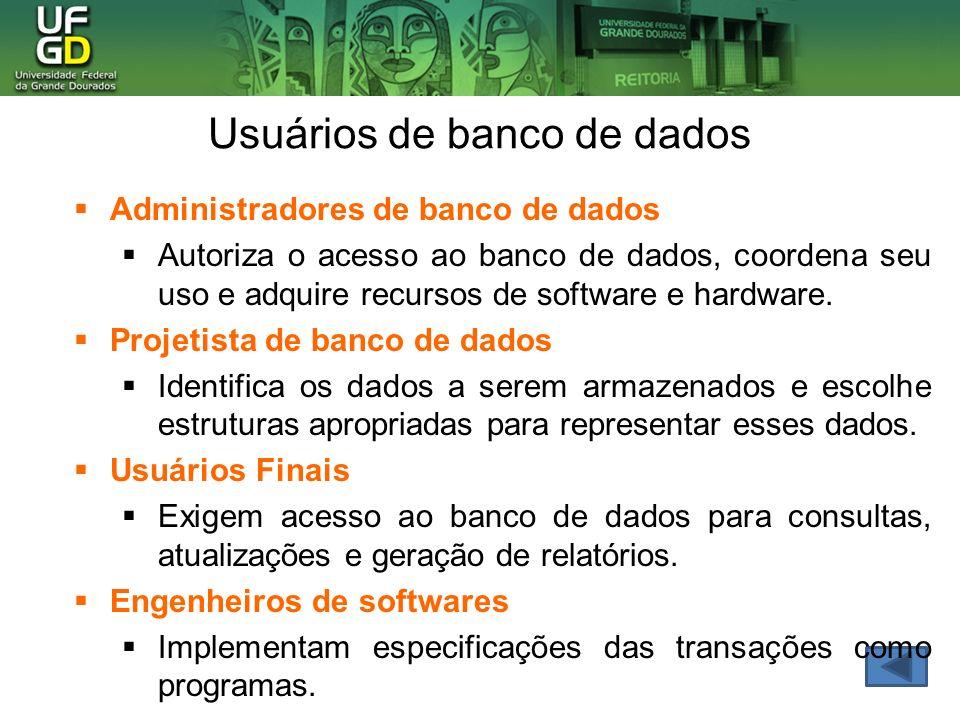 Usuários de banco de dados Administradores de banco de dados Autoriza o acesso ao banco de dados, coordena seu uso e adquire recursos de software e ha