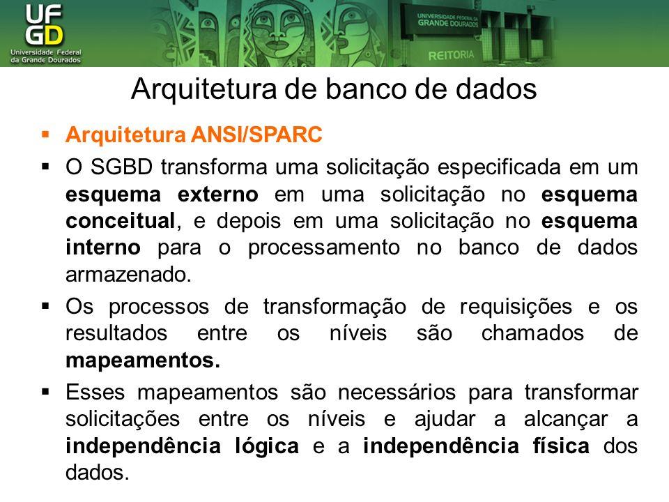 Arquitetura de banco de dados Arquitetura ANSI/SPARC O SGBD transforma uma solicitação especificada em um esquema externo em uma solicitação no esquem