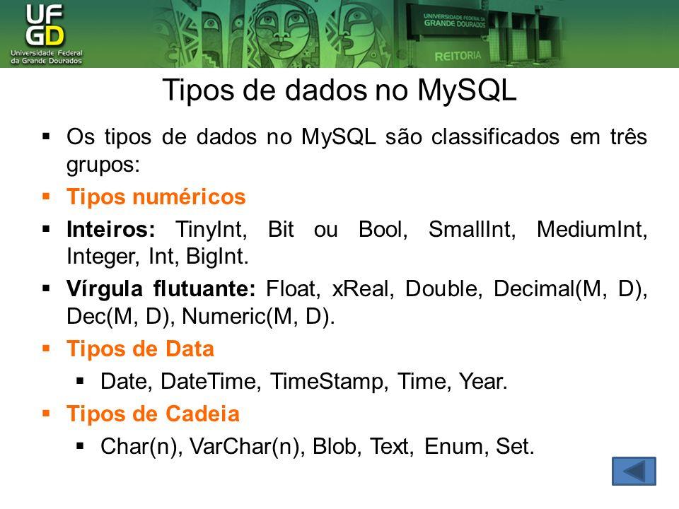Os tipos de dados no MySQL são classificados em três grupos: Tipos numéricos Inteiros: TinyInt, Bit ou Bool, SmallInt, MediumInt, Integer, Int, BigInt