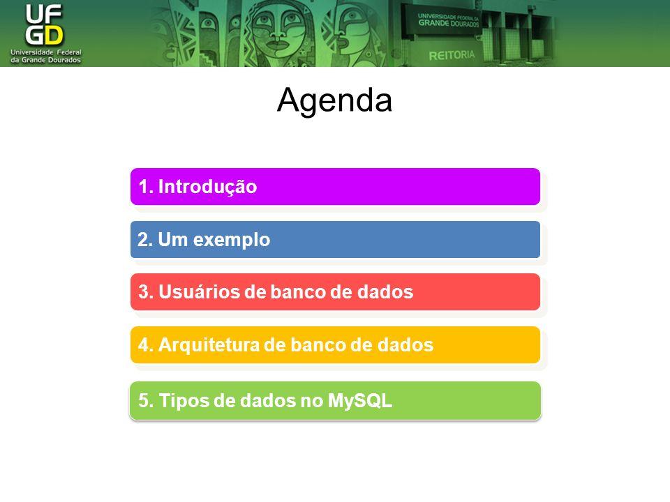 Agenda 1. Introdução 2. Um exemplo 3. Usuários de banco de dados 4. Arquitetura de banco de dados 4. Arquitetura de banco de dados 5. Tipos de dados n