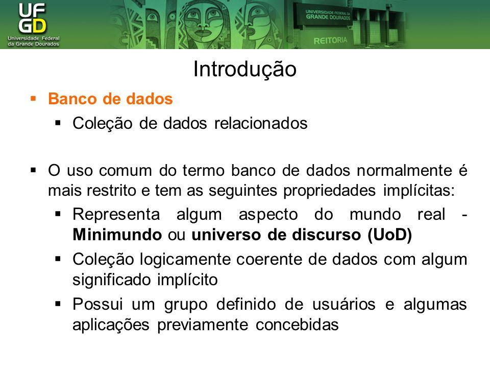Introdução Banco de dados Coleção de dados relacionados O uso comum do termo banco de dados normalmente é mais restrito e tem as seguintes propriedade