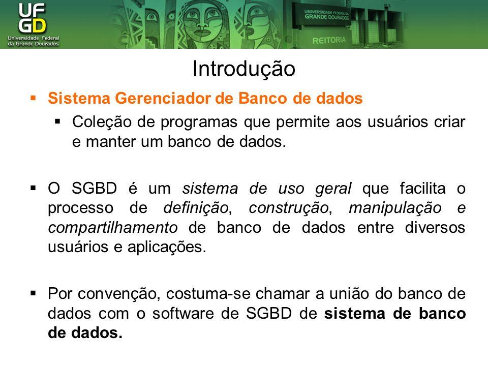 Introdução Sistema Gerenciador de Banco de dados Coleção de programas que permite aos usuários criar e manter um banco de dados. O SGBD é um sistema d
