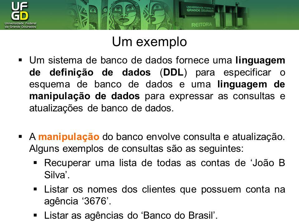 Um exemplo Um sistema de banco de dados fornece uma linguagem de definição de dados (DDL) para especificar o esquema de banco de dados e uma linguagem
