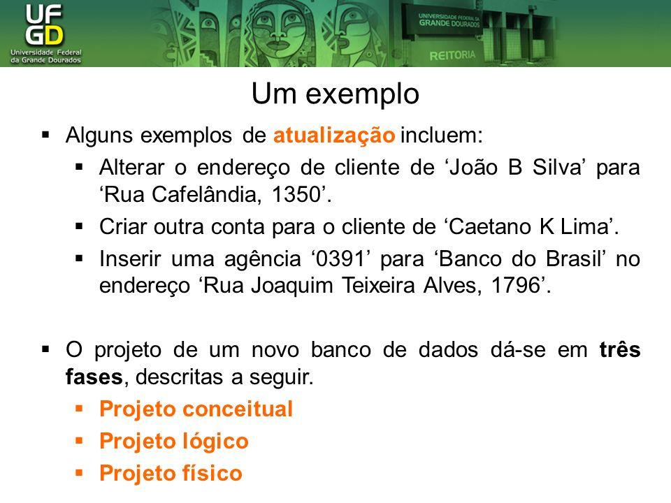 Um exemplo clienteconta possui nome sexo endereco número saldo m n #tabela cliente CREATE TABLE cliente ( id int auto increment, nome varchar(45), bairrovarchar(45), cidadevarchar(45), PRIMARY KEY (id) ); Projeto Conceitual (Modelo Entidade-Relacionamento) Projeto Lógico (Modelo Relacional) Projeto Físico (Instruções SQL) cpf Levantamento e análise de requisitos Fases de um projeto de banco de dados:
