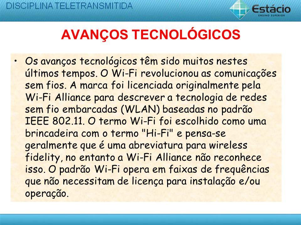 AVANÇOS TECNOLÓGICOS Os avanços tecnológicos têm sido muitos nestes últimos tempos. O Wi-Fi revolucionou as comunicações sem fios. A marca foi licenci
