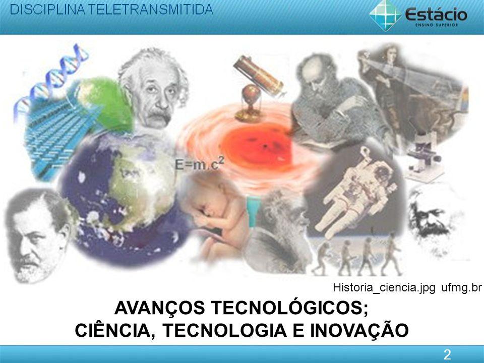 AVANÇOS TECNOLÓGICOS; CIÊNCIA, TECNOLOGIA E INOVAÇÃO 2 Historia_ciencia.jpg ufmg.br