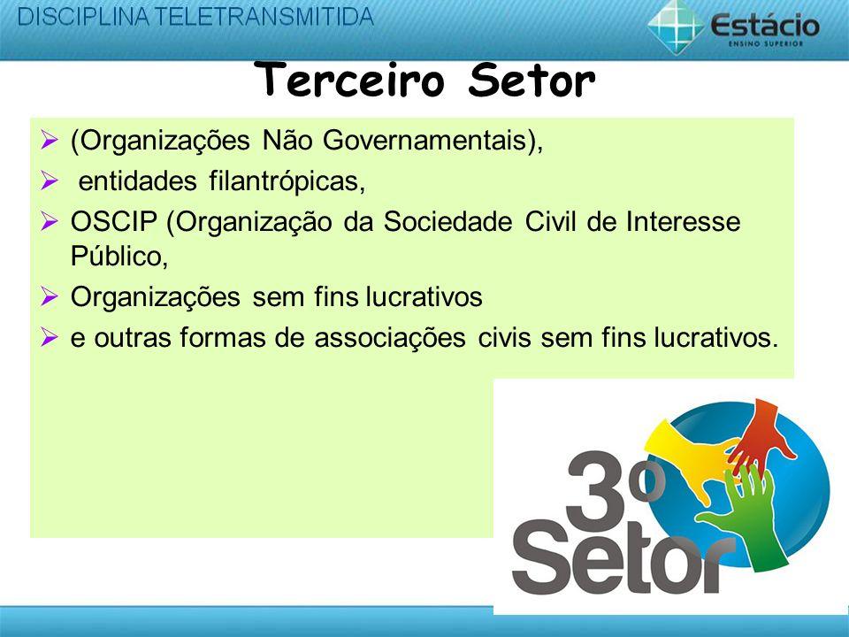 Terceiro Setor (Organizações Não Governamentais), entidades filantrópicas, OSCIP (Organização da Sociedade Civil de Interesse Público, Organizações sem fins lucrativos e outras formas de associações civis sem fins lucrativos.