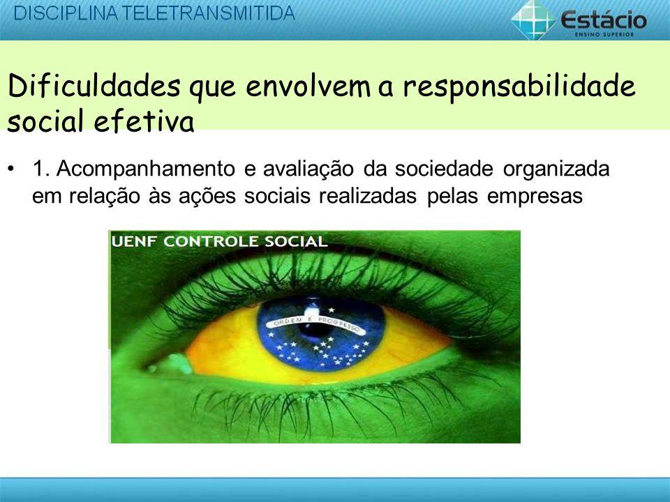 Dificuldades que envolvem a responsabilidade social efetiva 1.