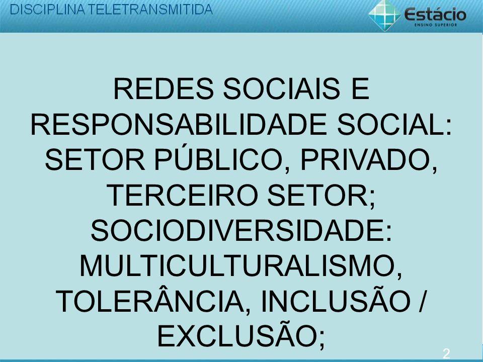 REDES SOCIAIS E RESPONSABILIDADE SOCIAL: SETOR PÚBLICO, PRIVADO, TERCEIRO SETOR; SOCIODIVERSIDADE: MULTICULTURALISMO, TOLERÂNCIA, INCLUSÃO / EXCLUSÃO; 2