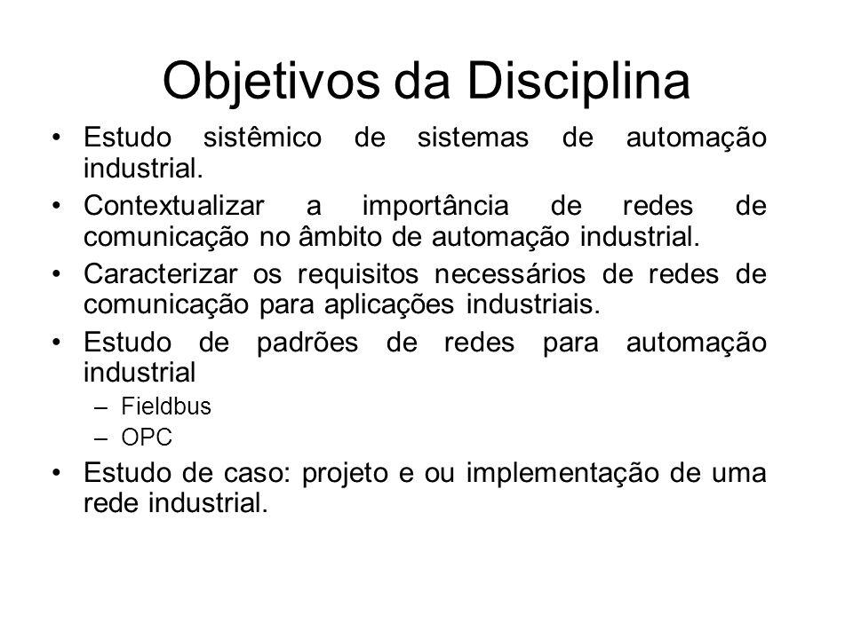 Objetivos da Disciplina Estudo sistêmico de sistemas de automação industrial. Contextualizar a importância de redes de comunicação no âmbito de automa